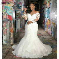 2020 New Arrival Long Sleeves Plus Size Mermaid Wedding Dress V Neck Lace Appliques Wedding Gowns Custom Made