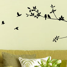 New Fashion Heaven New Tree Branch Black Bird Art Wall Stickers Removable Vinyl Decal Home Wallpaper black Simple Sticker(China)