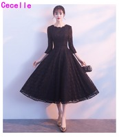 Vintage Tea Length Black Lace A line Short Modest Bridesmaid Dresses With 3/4 Sleeves Women Informal Wedding Party Dress Sleeved