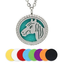 30MM Aromatherapy Necklace Silver Magnetic Horse Head Stainless Steel Essential Oil Diffuser Locket Crystal Pendant