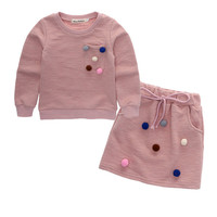 Fashion Autumn Children Girls Dress Sets Solid Long Sleeve Cloth + Skirt Ball Decoration Girl Clothing Set Infant Cloth for Kids