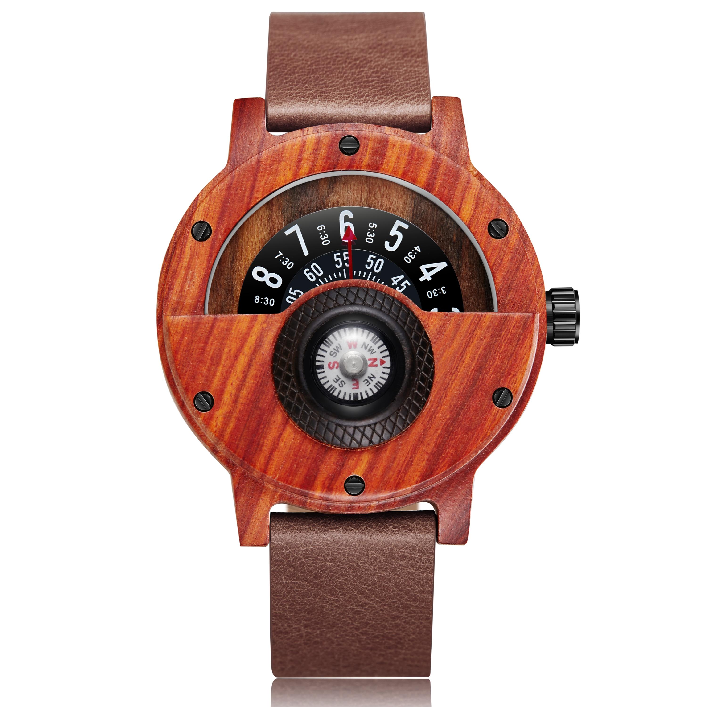 Fashion Wood Watch Men Women Unique Compass Half Dial Natural Wooden Quartz Wristwatch Luxury Creative Design Wooden Watch Male