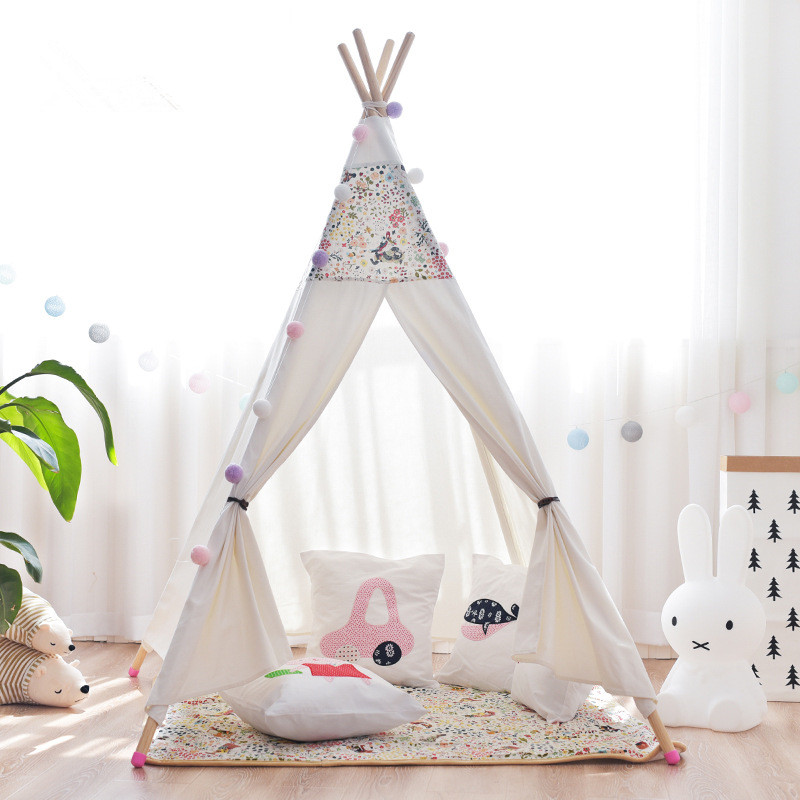 Floral Teepee Kids Play Tent House Children Tipi Tente Pour Enfant Tipi safety kids teepee children tipi toy baby pink play tent ball pit playpens house portable tente enfant lodge gift game room