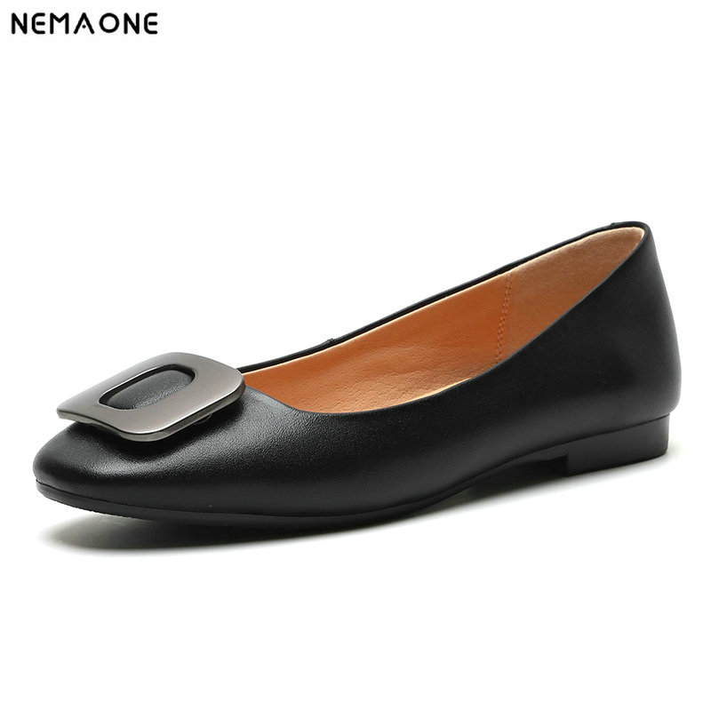 NEMAONE 2019 summer Casual Shoes woman cow leather Flats Fashion Flat Driving Shoes Summer Women dress Shoe-in Women's Flats from Shoes on AliExpress - 11.11_Double 11_Singles' Day 1