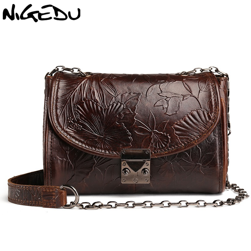 080f9deb10fd NIGEDU brand Genuine Leather Women shoulder bag vintage embossing Crossbody  Bags for women Chain Small bag cowhide messenger bag