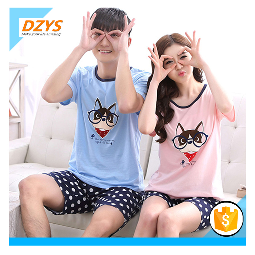 DEYS-ZF couple pajamas men fresh students two sets of loose cotton short-sleeved thin home service T-shirt