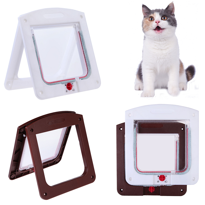 Pet Cat Puppy Dog Gates Door Lockable Safe Flap Door Pet Safety Products Lock Suitable For Any Wall Or Door White Brown Colors