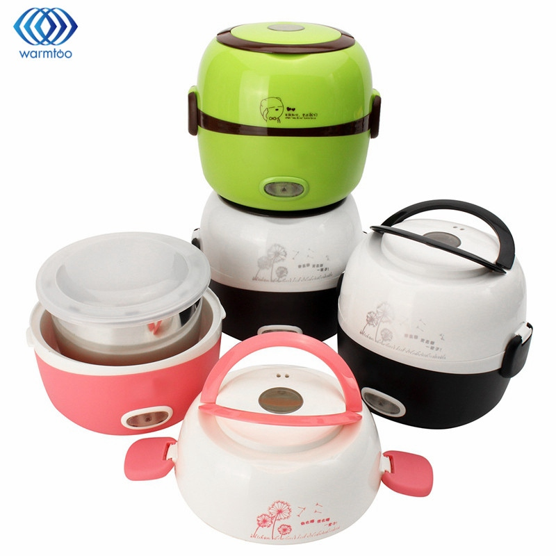 Electric Rice Cooker Insulation Heating Portable 1.3L Electric Lunchbox 2 Layers Steamer Multifunction Automatic Food Container parts for electric rice cooker