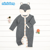 Autumn Baby Unisex Clothing Cotton Long Sleeved Toddler Girls Rompers Set Lovely Jumpsuits Hat Infant Kids