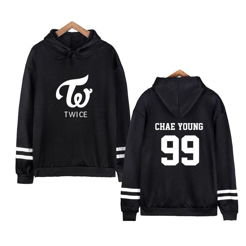 Twice KPOP Sweatshirt Hoodies Women Harajuku Shirt  Winter Jacket Women 2019 Cotton Hooded Letter Korean Version Plus Velvet