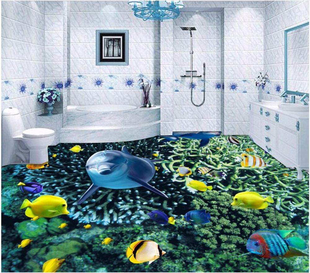 купить Custom mural 3d flooring picture pvc self adhesive Marine world dolphin fish home decor painting 3d wall murals wallpaper photo по цене 1570.62 рублей