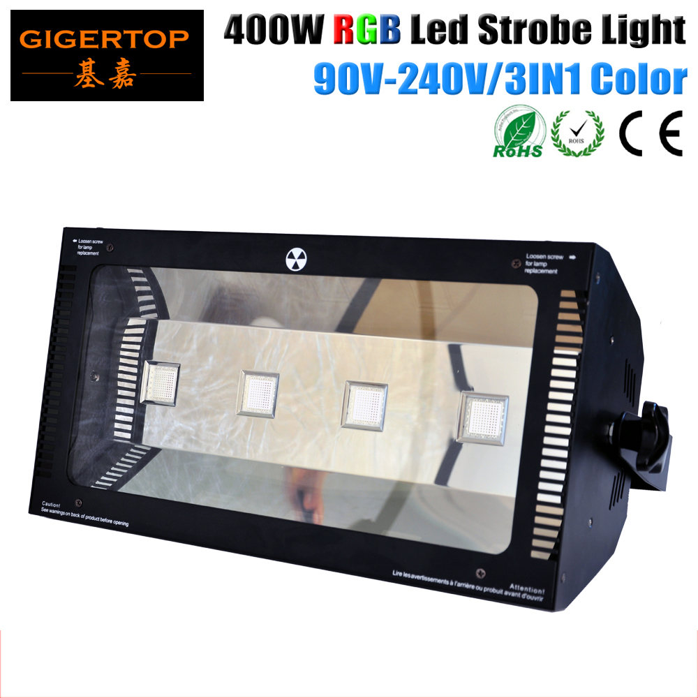 TIPTOP New 400W Led RGB Strobe Light DMX512/Master-Slave/Auto/Sound Active Control Red/Green/Blue Color 3in1 Mixing DMX 2/8 CH cheap price tiptop plastic black 18x3w rgb single color led par light dual channels dmx512 sound mater slave mode linear dimmer