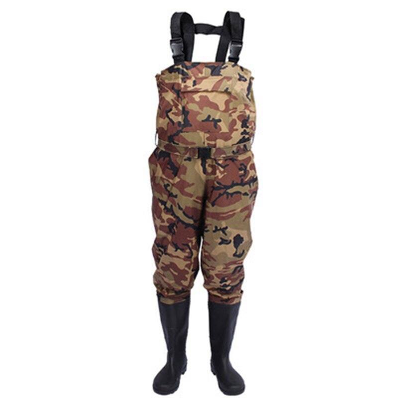 High Jump 0 35mm Camouflage Fishing Wader Waterproof Nylon PVC Fabric Breathable Waist Height Belt Pocket