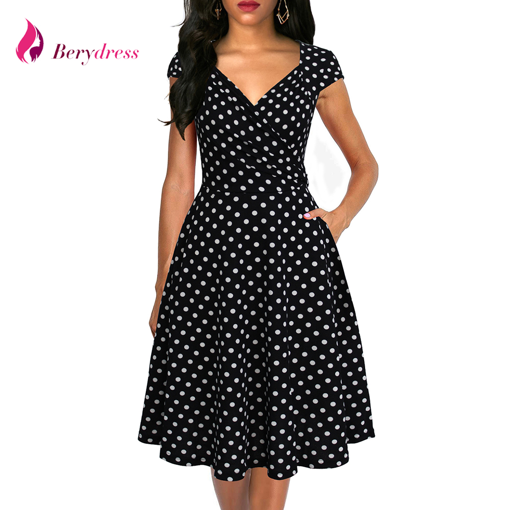 Berydress Womens Cap Sleeve Ruched Dress Polka Dot A-line Puffy Swing Skater Vestidos Wedding Party Summer Flared Dress Pocket