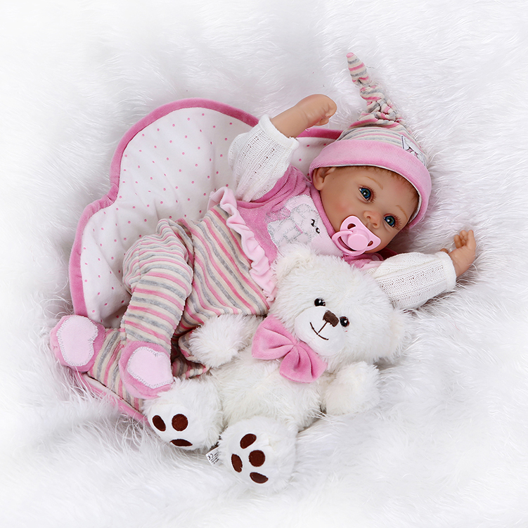 NPKCOLLECTION22in 55cm new arrival Icrad cotton body newborn baby with one toy bear best child gift silicone reborn baby doll silicone bear