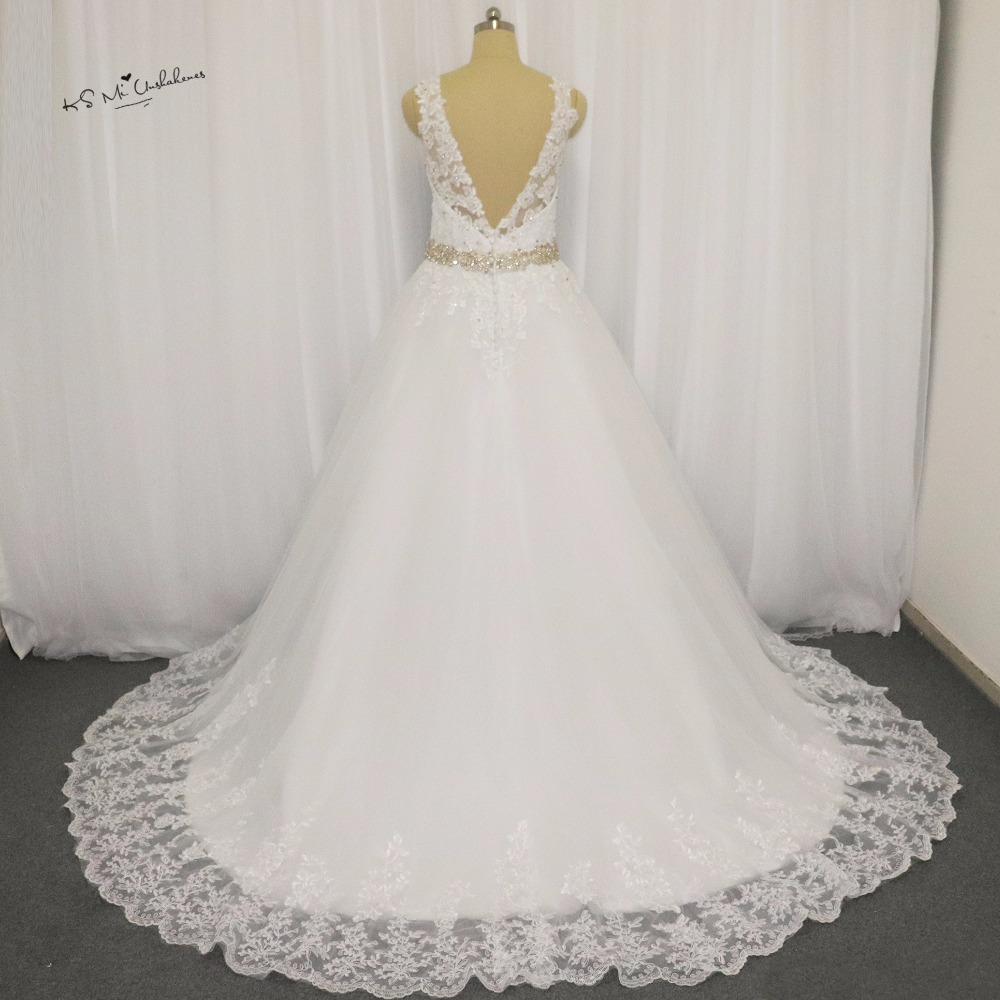 Ivory vintage princess wedding dresses lace beaded for Vintage backless wedding dresses