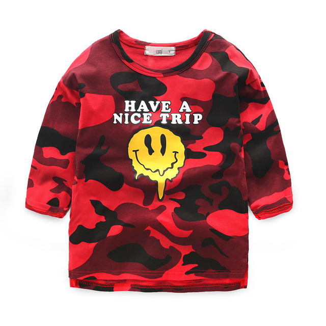 boys camouflage T-shirt Long cotton Kids Baby clothes 2017 spring