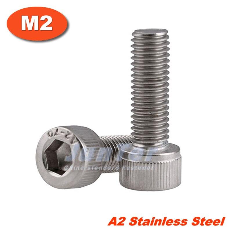 100pcs/lot M2(2mm) A2 Stainless Steel Allen Blots Hex Socket Head Cap All Thread Screws Metric DIN912