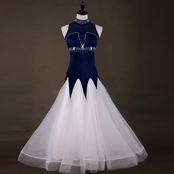 Rave Ballroom Dance Dresses Women Costume Sleeveless Blue Waltz Dress White Bouffant Skirt  Competition Ballroom Dress VDB597