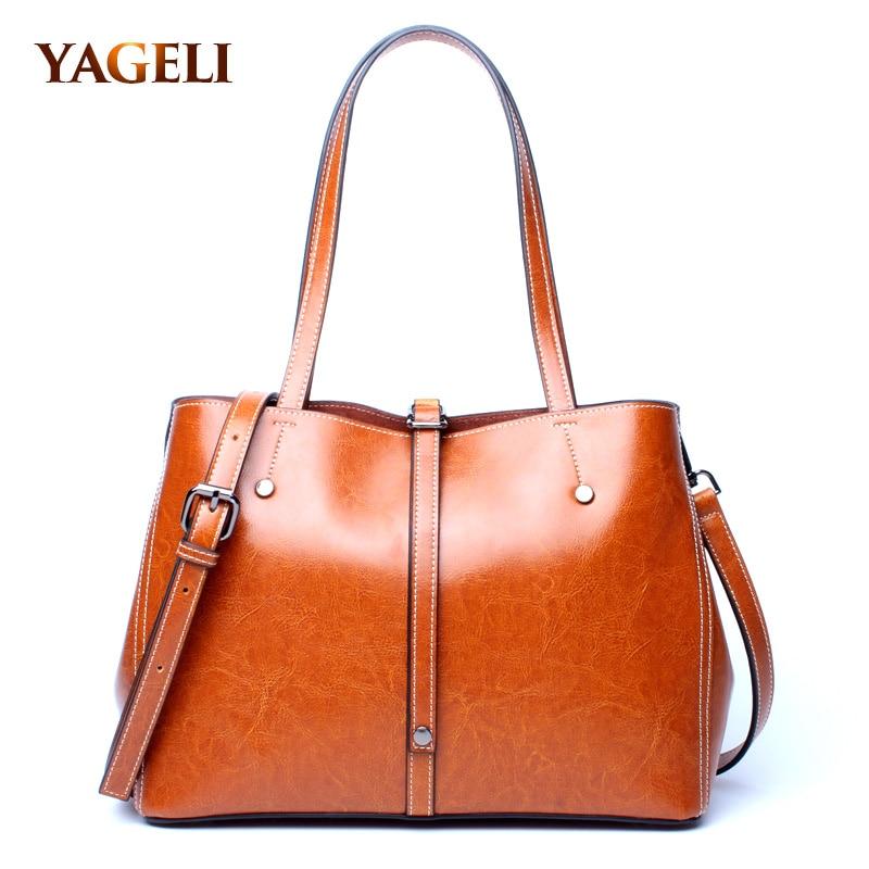 2018 Women Bag Genuine Leather Shoulder Bag For Women Ladies Handbag Solid Female Shoulder Messenger Bags Travel Fashion Sac