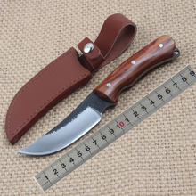 hot handmade fixed blade straight knife 1095 high carbon steel wood handle holster sturdy and sharp outdoor survival tools knife