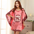 16Colors Sexy Imitation Chemise De Nuit Soie Ladies Summer Half-sleeve Silk Bat Shirt Nightgowns for Women Red Blue S M