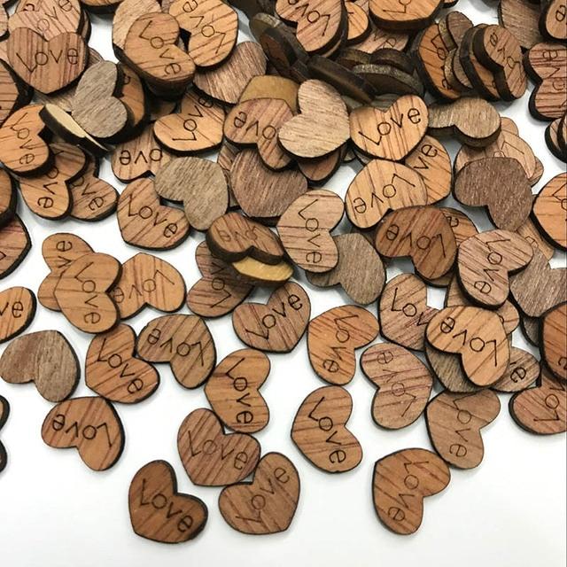 100 sztuk Mini drewniane Love Heart konfetti na stół weselny DIY akcesoria rzemieślnicze rustykalne wesele DIY dekoracje Favor Scrapbooking