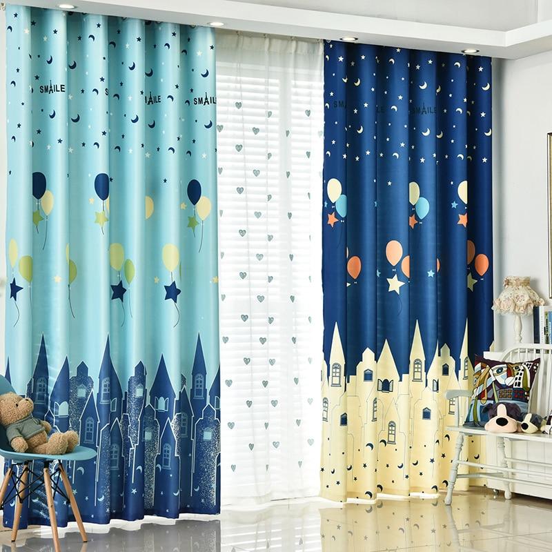 Mediterranean Children Room Blue Cartoon Castle Balloon Curtains Cotton Polyester Boys Kids