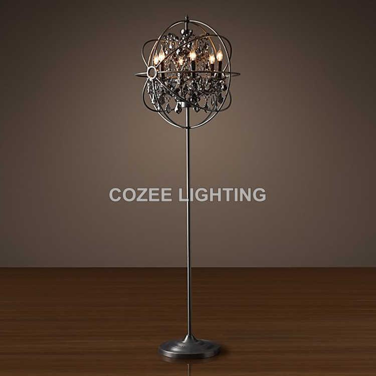 Винтажный торшер с кристаллами, стоящим освещением, светодиодный светильник для пола, освещение для дома, ресторана, гостиной и столовой