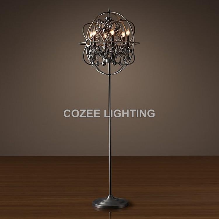 Vintage Crystal Floor Lamp Standing Lighting LED Orb Cristal Floor ...
