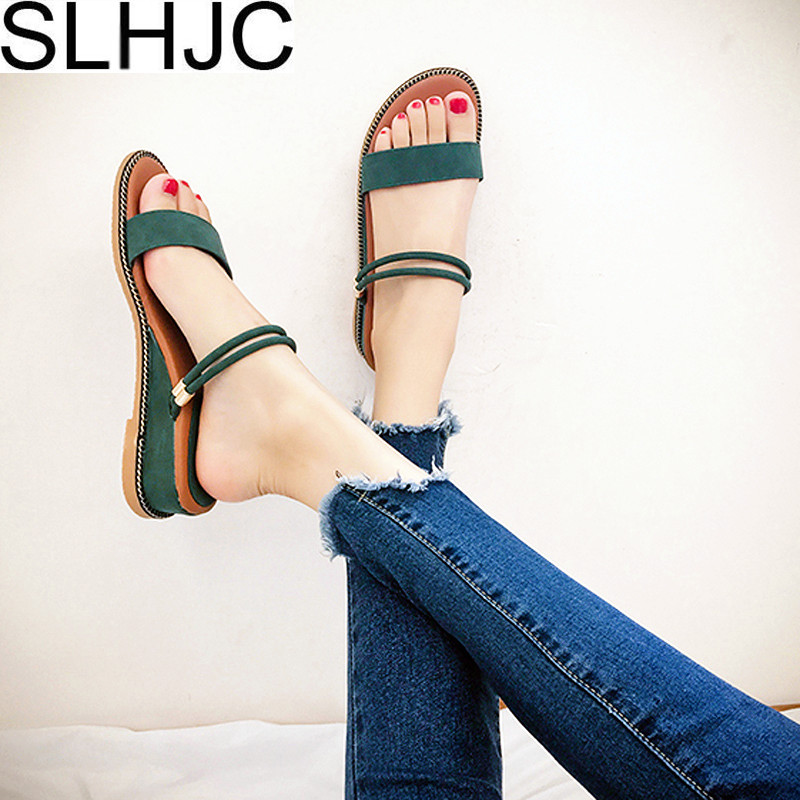 SLHJC Sandals Wedges Heel Open Toe Leather Shoes Summer Med Heel Women Casual Slip On Slippers Pumps Sandals 2018 new women sandals low heel wedges summer casual single shoes woman sandal fashion soft sandals free shipping
