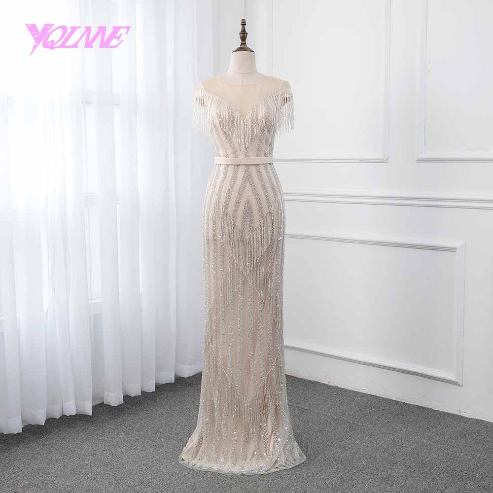 YQLNNE Champagne Mermaid Evening Dress 2019 Illusion Beading Tassel Formal Gown Women Dresses Robe De Soiree Pageant Dresses