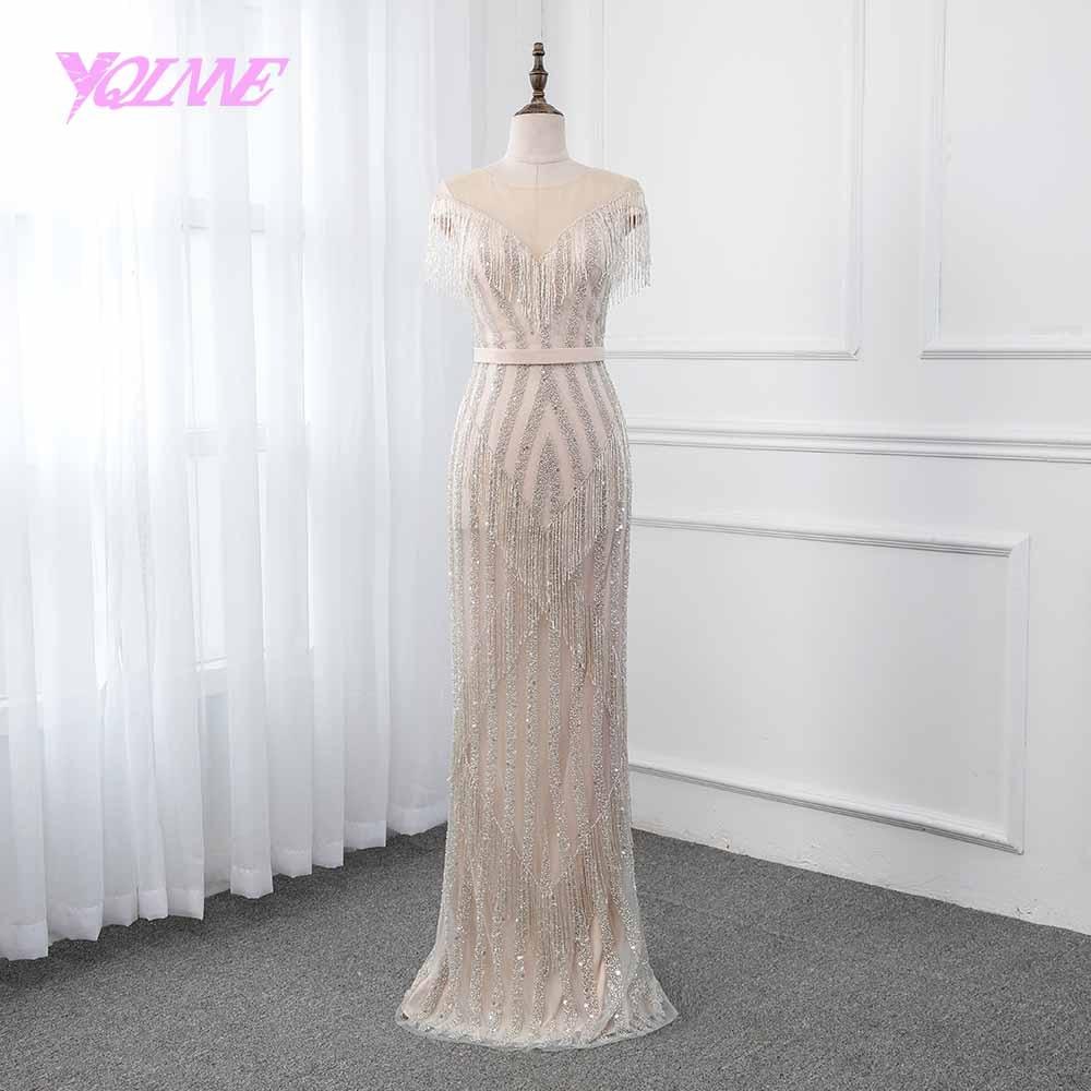 YQLNNE champagne sirène robe de soirée 2019 Illusion perles gland robe formelle femmes robes robe de soirée robes de reconstitution historique