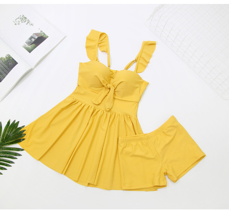 2019 Swimwear Women Tankini Set Two Piece Vintage Solid Yellow Swimsuit Push Up High Waist Sport Bathing Suit Beach Wear