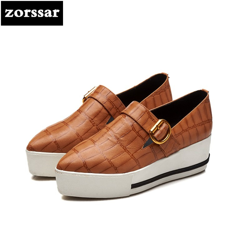{Zorssar} 2018 New Fashion women flat platform Loafers Casual Summer Female shoes Flats Pointed toe Shoes Ladies platform shoes instantarts new akita flower print women sneaker shoes animal dog pattern mesh flat shoes fashion female summer walk flats girls