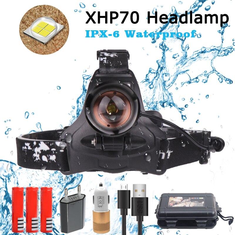 40000LM XHP 70 Led Projecteur Super Lumineux Phare 3 Modes Lampe 18650 USB De Charge Tête Lampe Torche Chasse Cyclisme Projecteurs