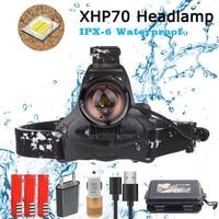 40000lm xhp 70 led 전조등 슈퍼 밝은 헤드 라이트 3 모드 램프 18650 usb 충전 헤드 램프 토치 사냥 사이클링 헤드 램프