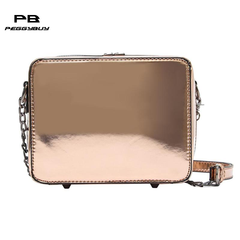Women Laser Mirror Square Handbags High Quality Chain PU Leather Messenger Bags Portable Fashion Girls Shoulder Bags 2018 New