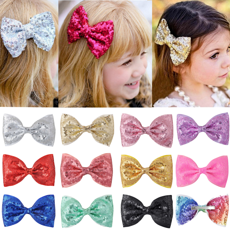 Cute 4.7 Inch Girls Hair Bows Glitter Mermaid Sequins Scales Hairclip Boutique Women Hair Clips Hairpins Kids Hair Accessories