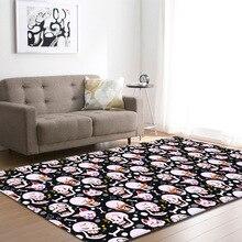 European and American Living Room Area Rug Halloween Pumpkin Skulls Horrified Big Carpets Flannel Boys Carpet Mats Rugs