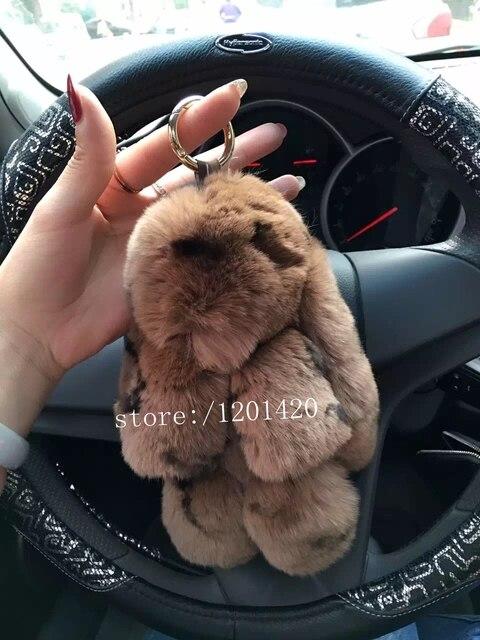 Леопардовый настоящее мех кролика брелок симпатичные kawaii сумка шарм pom pom плюшевый кролик подвески сумочка шарм кошелек шарм брелок