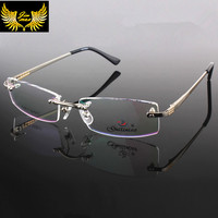 2016 New Arrival Rimless Men Style Eye Glasses Frame Quality Fashion Style Metal Spectacle Square Eyewear