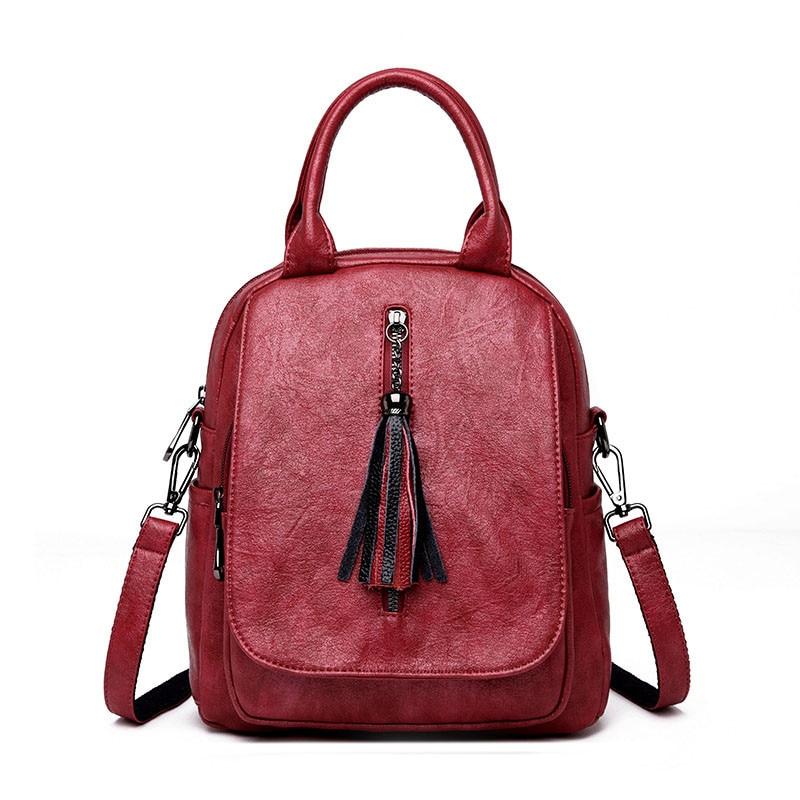 3-in-1 Women Backpack 2018 Tassel Youth Leather Vintage Backpacks for Teenage Girls Female School Bag Bagpack mochila sac a dos цена