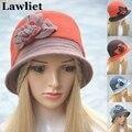 Мода шерстяного войлока Женщин Берет Hat Шапочка Женский Cap Цветок Шерсть Леди Осень Зима cloche шляпы A309