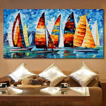 Home Decor Hand Painted modern Colorful Sailboat Oil Painting Wall Art Canvas Picture handmade Acrylic oil painting for bedroom