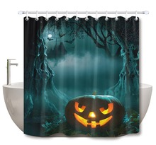 72 Bathroom Waterproof Fabric Shower Curtain 12 Hooks Bath Accessory Set Glowing Pumpkin