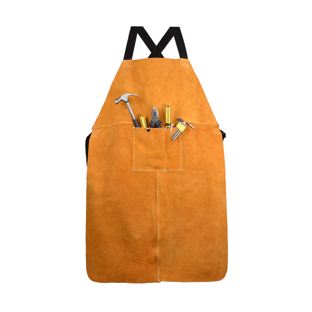 Men Women Blacksmith Cowhide Leather Wear-resistant Apron Thicken Working Yellow Electric Welding Adjustable Front Pocket