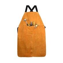 Износостойкий фартук из воловьей кожи для мужчин и женщин, уплотненный Регулируемый передний карман для электросварки желтого цвета