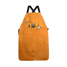 Men Women Blacksmith Cowhide Leather Wear resistant Apron Thicken Working Yellow Electric Welding Adjustable Front Pocket