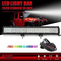 CO LUCE 20 ''4X4 Led Bar 3 Fila Diritta Lightbar 252 W 12 V 24 V Per Offroad 4X4 Jeep Wrangler Skoda Ford Camion Barca Car Led